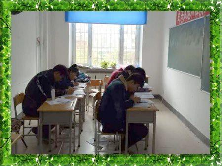 图片为哈尔滨新发展2000年高考全日制学生上课现场照片